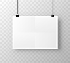 Paper poster A4 on the white transparent background. Vector illustration
