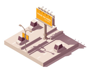 Vector isometric billboard on the road