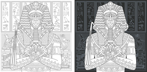 Egyptian pharaoh. Coloring Page. Coloring Book.
