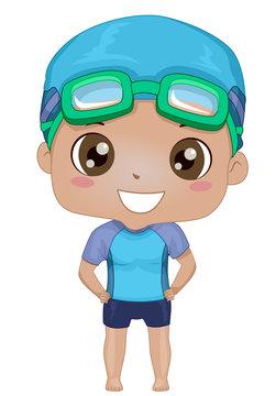 Kid Boy Black Swimming Trunks Illustration