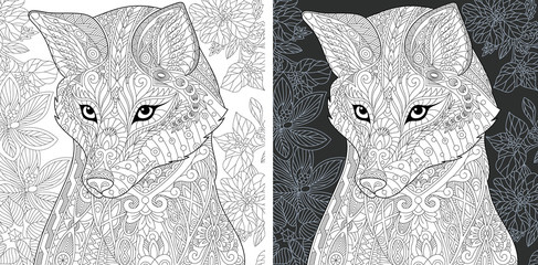 Fox and flowers. Coloring Page. Coloring Book.