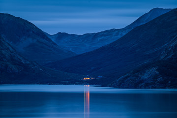 Mountain Lodge in the Night. Memurubu, Jotunheimen, Norway