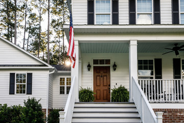 Front Porch with Stairs of All American White Farmhouse with Wood Doors Wall mural