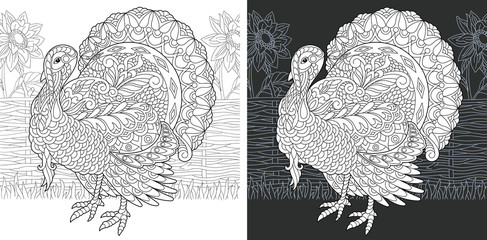 Turkey. Thanksgiving Day bird symbol. Coloring Page. Coloring Book.