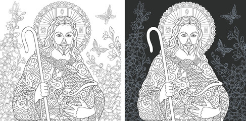 Jesus Christ. Coloring Page. Coloring Book.