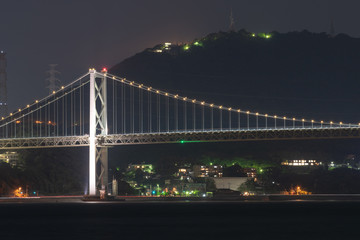 関門橋と関門海峡の夜景