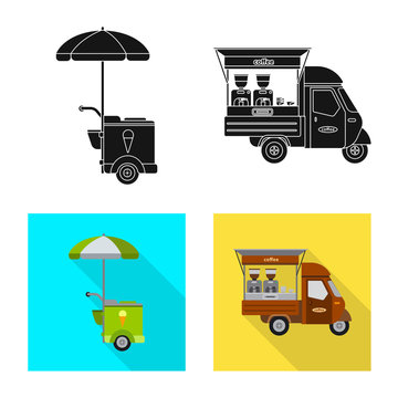 Vector design of market and exterior logo. Collection of market and food vector icon for stock.