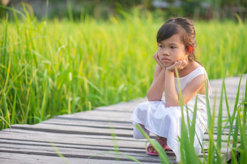 Asian cute girl relaxing sitting on the wooden bridge in the rice field on sun set with nature background.