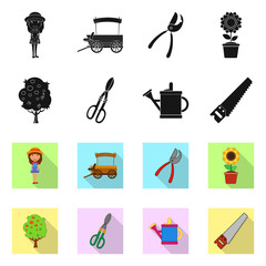 Vector design of farm and agriculture icon. Collection of farm and plant stock symbol for web.
