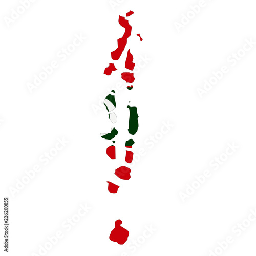 Map country with flag of Maldives\