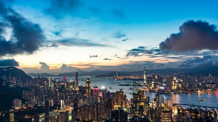 Night cityscape of Hong Kong from the Victoria peak.