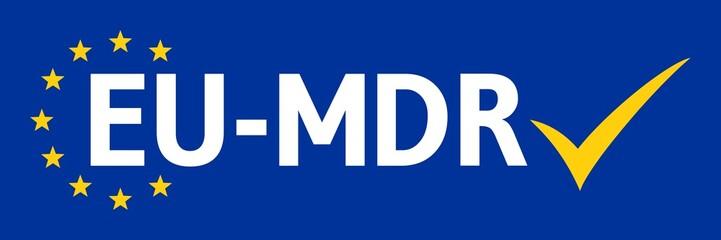 ebbn42 EuropeBannerBlueNew ebbn - german - Europäische Medizinprodukteverordnung - english - (Medical Device Regulation) - text: EU-MDR - Check mark icon - banner - 3to1 xxl g6668