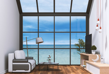 interior living room and sea landscape in glass wall. 3D render