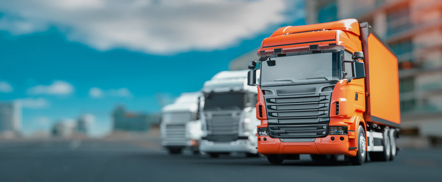 Orange and white truck parked in the city. 3d render and illustration.
