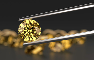 Amber Diamond in tweezers with Diamond Bokeh  background with, 3d rendering.