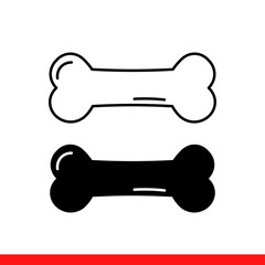 Dog bone vector icon. Simple, flat design for web or mobile app