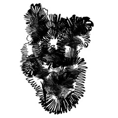 Abstract black human hearts in doodle style on white background