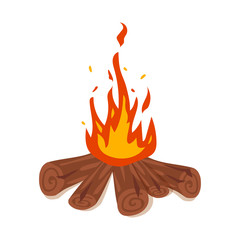 Simple vector illustration of bonfire, isolated on white, vector illustration.
