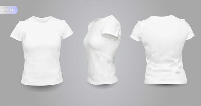 Woman clean white shirts, isolated on background.