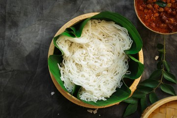 Idiyappam/ String Hoppers - Traditional Kerala Steamed Breakfast served with Chickpea curry
