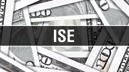 ISE Closeup Concept. American Dollars Cash Money,3D rendering. ISE at Dollar Banknote. Financial USA money banknote Commercial money investment profit concept