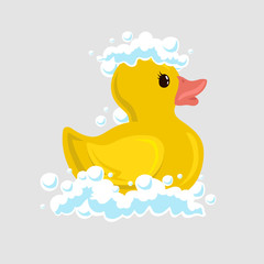 Bath duck icon with duck on white background vector illustration