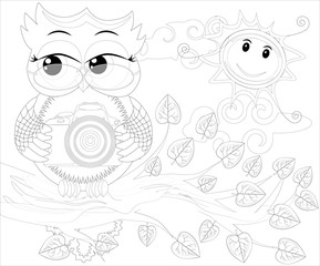 Doodles design of a photographer owl taking photo. coloring book for adult, card,poster,banner