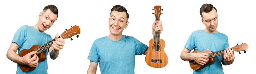 Set of portraits of young smiling guy lolding ukulele isolated on a white background.