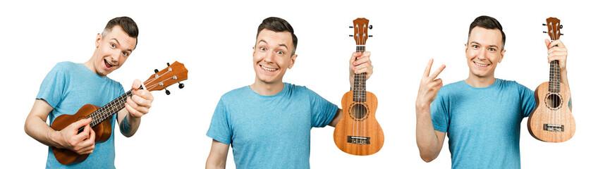 Set of portraits of young smiling guy holding ukulele isolated on a white background.