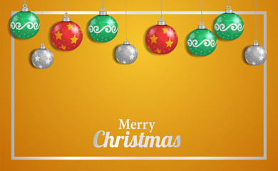 christmas decoration background with vector illustration of bauble or ball