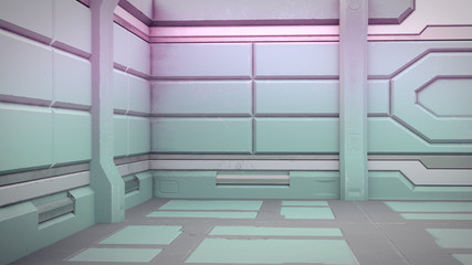 Sci-Fi grunge damaged metallic corridor background 3d render