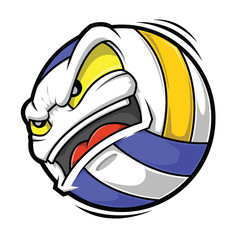 Cartoon Volleyball angry face