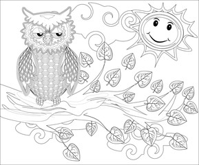 Canvas Prints Owls cartoon Coloring pages. Birds. Cute owl sits on the tree.