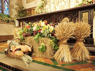 Traditional harvest festival altar in English Anglican church