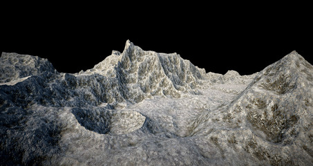 Extremely detailed and realistic high resolution 3D illustration of a asteroid moon exoplanet like surface