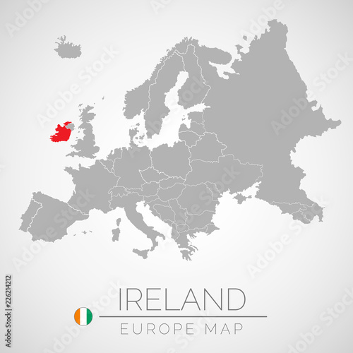 Ireland On Map Of Europe.Map Of European Union With The Identication Of Ireland Map Of