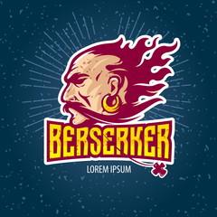 Berserker rage. Head of the Viking with fiery hair. Sport creative logo
