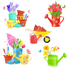 beautiful collection of spring bouquets and gardening equipments for your design