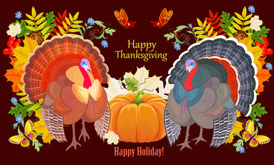 nature banner with turkey bird. happy thanksgiving day