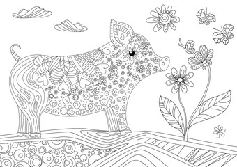 cute pig and lovely flower for your coloring book