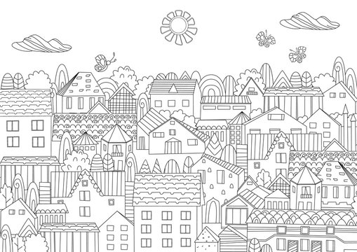 happy summer cityscape for your coloring book