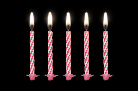 Birthday candles isolated on black background