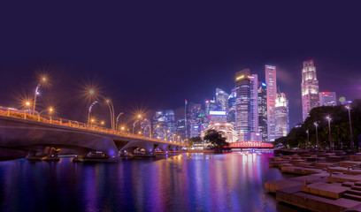 Singapore city skyline,City scape Building in Singapore., Singapore city skyline at Marina bay cityscape at night