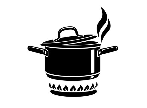 Cooking saucepan with steam icon, simple style