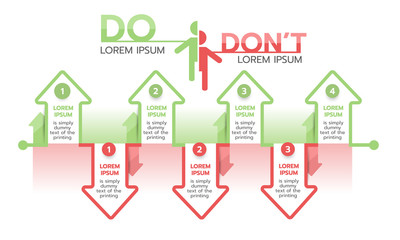 Do and don't arrow infographic template. Flat vector illustration
