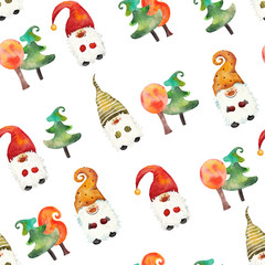 Watercolor seamless pattern of dwarves and stylistic trees on a white and colored background handpainted