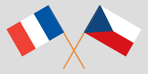 Crossed  flags of Czech Republic and France. Official colors. Correct proportion. Vector