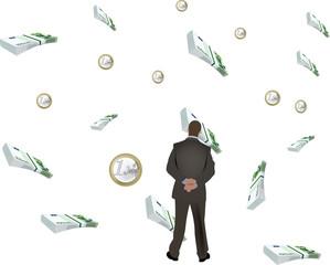 manager guarda indifferente alla caduta dell'euro