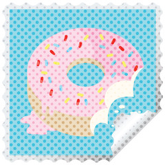 bitten frosted donut graphic vector illustration square sticker stamp