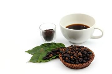 Coffee seed and black coffee